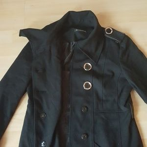 INC International Concepts Jackets & Coats - Classy black short button up trench cotton jacket